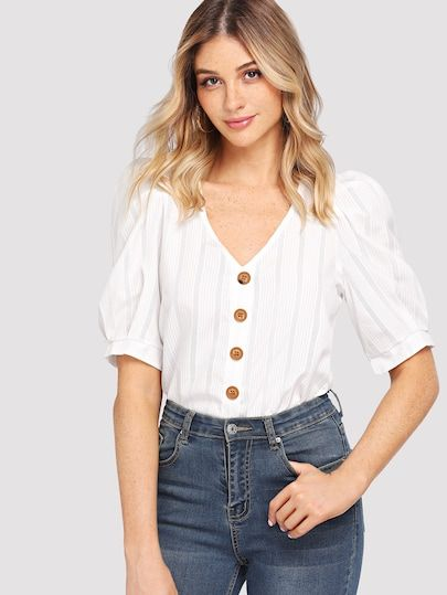 2b61c0a39c50cf Button Detail Puff Sleeve Blouse in 2019 | Styles We Love❤Casual ...