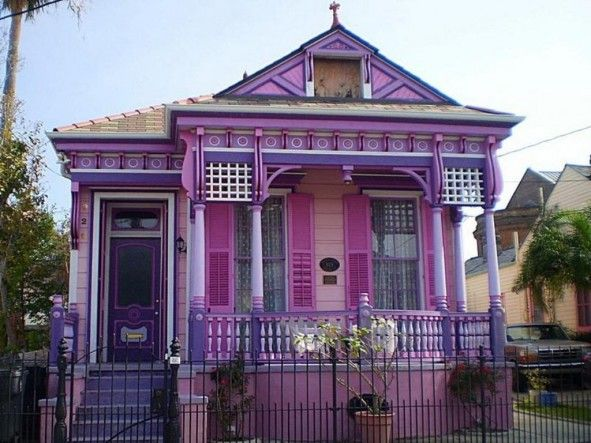 Exterior, Black Iron Fence Overlooking With Pink Venetian Blind Shutters  And Boho Chic Purple Exterior. Exterior House PaintsExterior House  ColorsExterior ...
