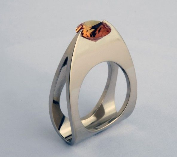 """Wesley Harris - Synthetic Corundum Ring 2011 1 1/8"""" high, 7/8"""" wide Materials: 14 k. White Gold, Synthetic Corundum"""