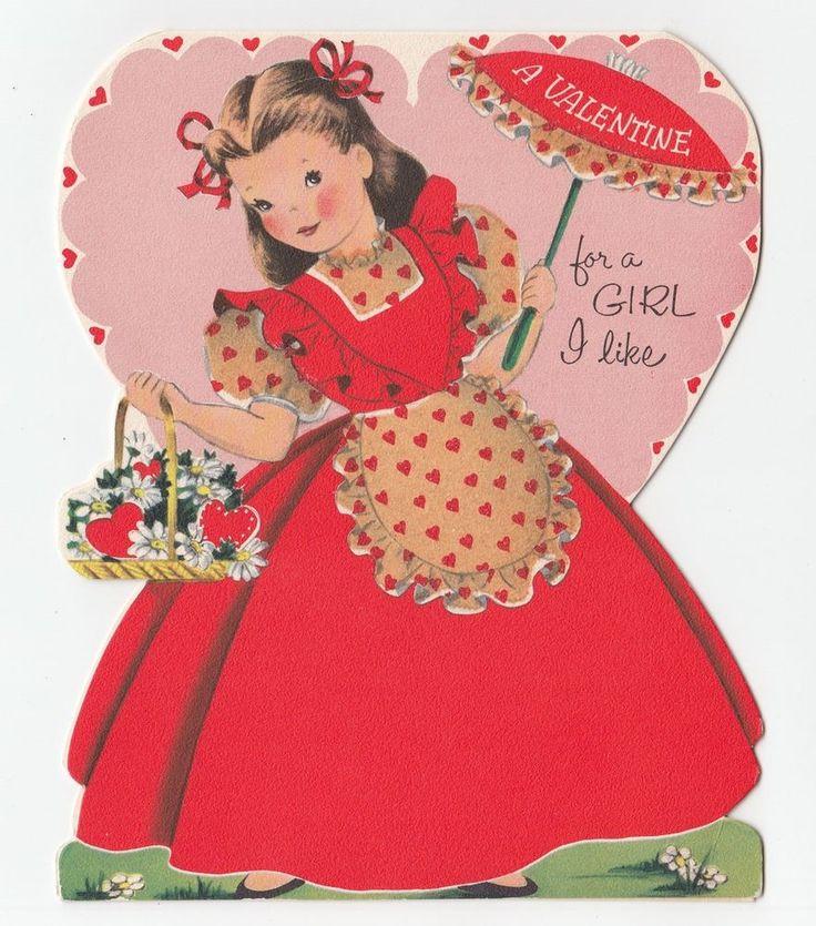Large Vintage Greeting Card Die Cut Cute Little Girl