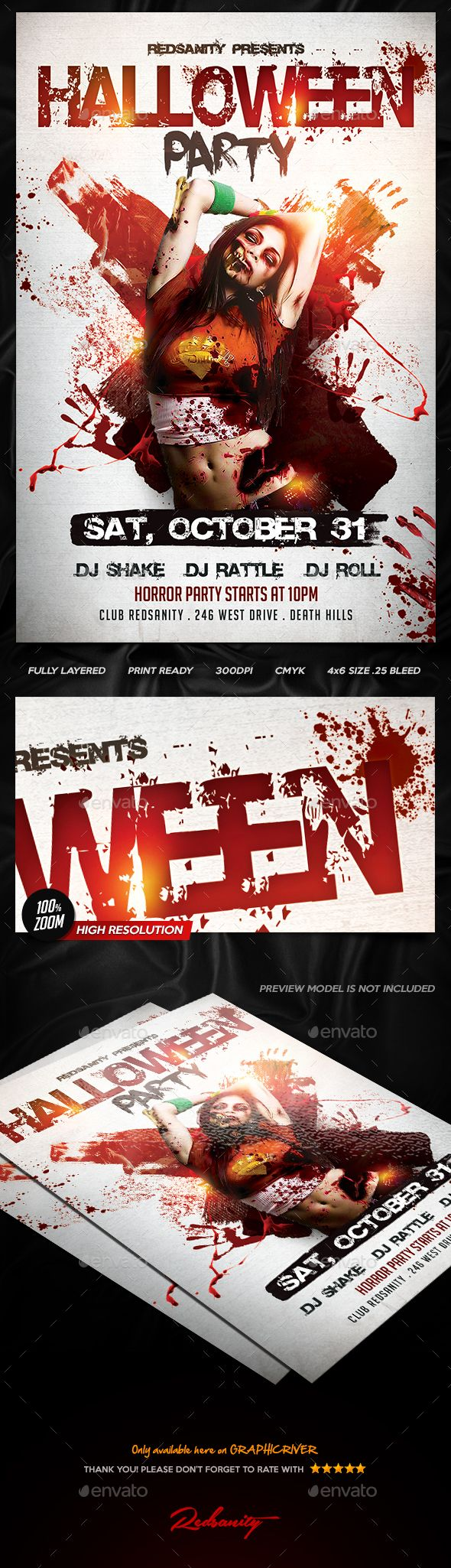 Halloween Party Flyer  — PSD Template #madness #dj • Download ➝…