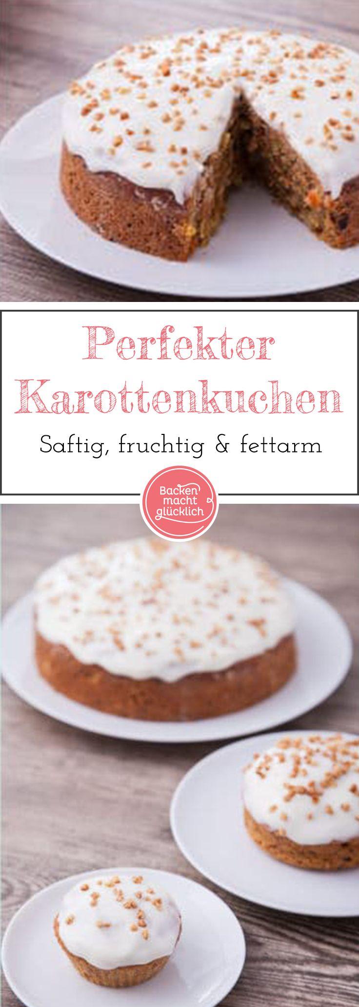 Ich habe ihn tatsächlich gefunden, den für mich perfekten Karottenkuchen – saftig, fruchtig, fettarm und ohne Nüsse. Wer mal etwas anderes ausprobieren möchte und sich fürs gesundes Backen interessiert, sollte aber definitiv auch dieses gesunde Möhrenkuchen-Rezept testen.