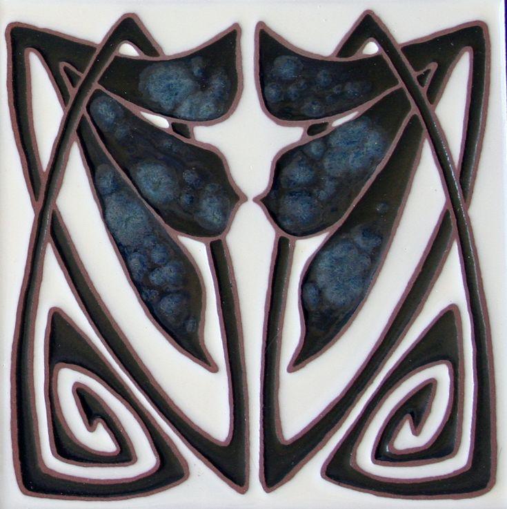 Art Deco Tile from Loftin Tile woks 6 inch black and white decorative tile from Loftintileworks.com