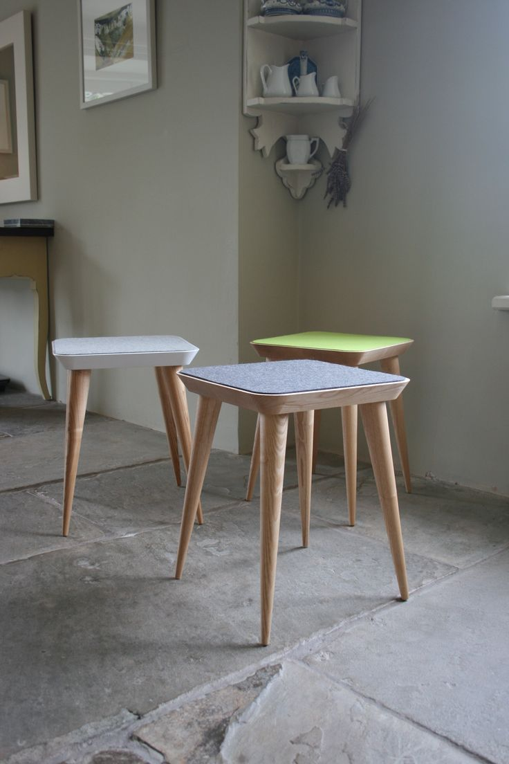 Felt Stools made from local Ash by Barnby & Day.