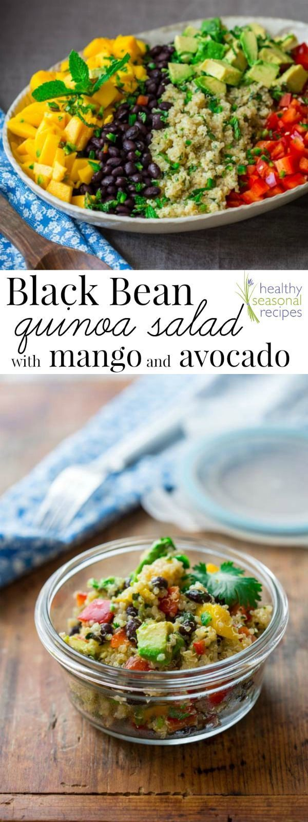 Blog post at Healthy Seasonal Recipes : This black bean and quinoa salad with mango and avocado is a delicious gluten-free side salad for potlucks, parties and summertime picnics, [..] #Detoxrecipes