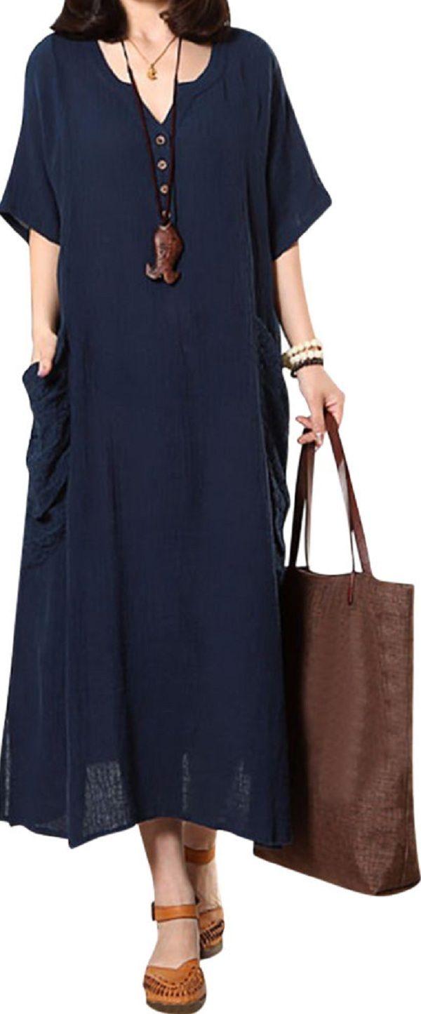 US$ 21.68 O-Newe Casual Embroidered Pockets Split Hem Button Maxi Dress