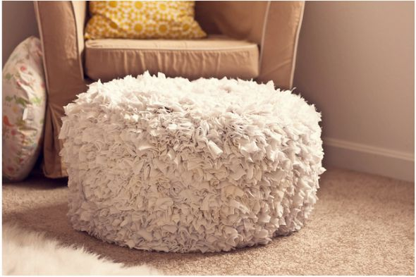 Shaggy pouf - so fun! The author used hot glue gun and fabric squares to create it, but I could use old t-shirts and knot them into loose weave fabric. It is nice to have in the room with different textures, and this definitely adds lots of texture and playfulness.