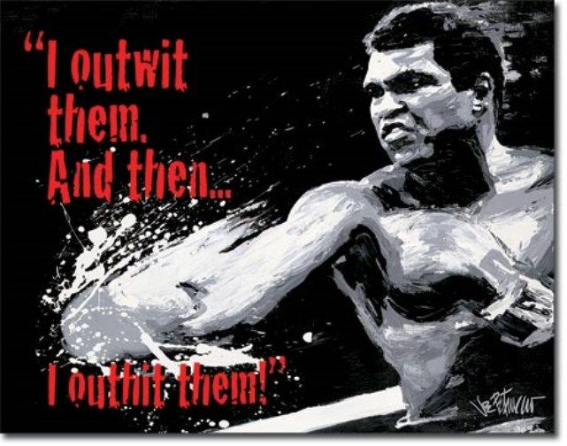 Ali Outwit Then Outhit Boxing Greatest Gym Rec Room Man Cave Bar Tin Sign #1883