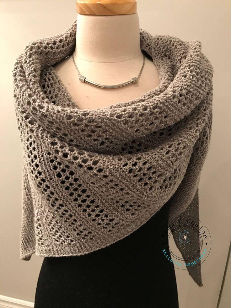 Beau grand châle en laine et soie, gris tweedé, tricoté à la main, pour vous accompagner en toute saison de la boutique EmmaHDesign sur Etsy