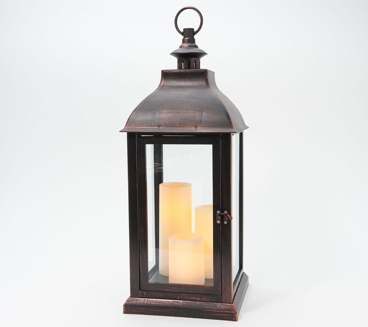 Candle Impressions 23″ Large Indoor/ Outdoor Lantern with 3 Candles — QVC.com