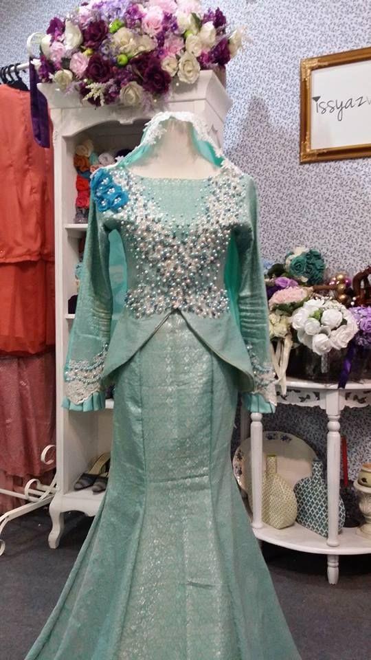 songket penuh tiffany warna biru hijau dress songket baju pengantin kahwin terbaru 2015