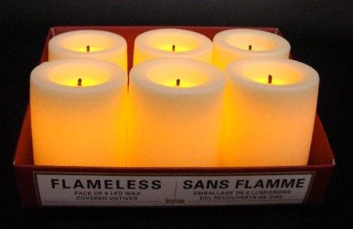 Flammenlose Stumpenkerze CREME 4.4cm NEU, 6er Set, LED Echtwachskerze, LED Stumpenkerze, LED Stumpenkerzen, Votivkerze, Votivkerzen, LED Kerze, Kerze / geeignet für Adventskranz, Weihnachten, Laterne, Licht, Windlicht, Tischlicht, Deko, Batteriebetriebene Kerze, Elektrische Kerze / Flameless Led Wax covered Votives / Sans Flamme lampions del recouverts de cire