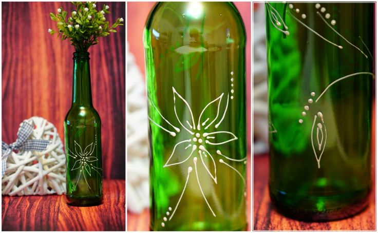 sticla cu floare. flower bottle. sticla pictata manual. hand painted bottle by anaisme (green, white)