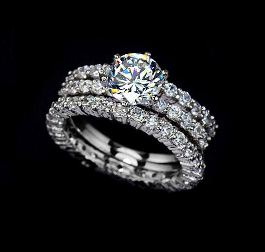 Bridal Set Ring 1.75 Carat Round Cut Cubic Zirconia Three Ring Set Engagement Ring Set Wedding Ring Solitaire Eternity Stacking Ring, AR0002