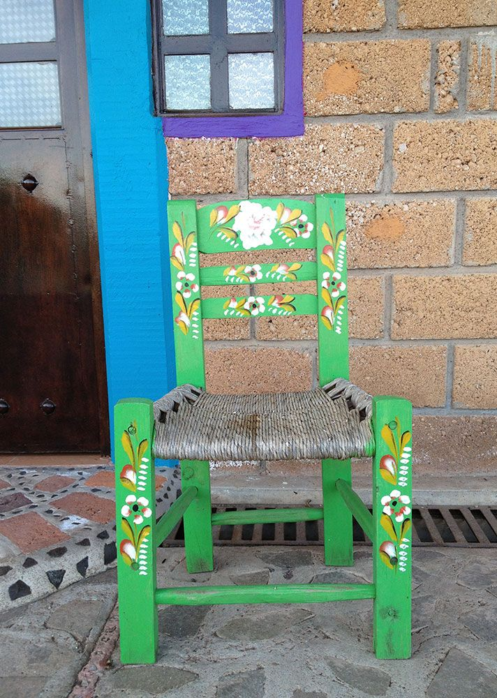 Handpainted Mexican wooden chairs.