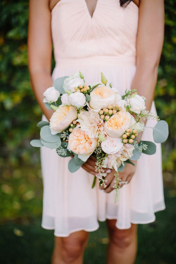 garden rose and eucalyptus bouquet, photo by Shane and Lauren Photography http://ruffledblog.com/romantic-wedding-meets-winery-chic #flowers #weddingbouquet