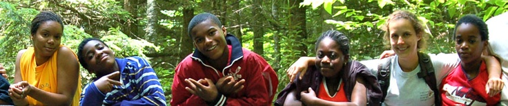 EVkids on a hike at EV's summer camp in Vermont
