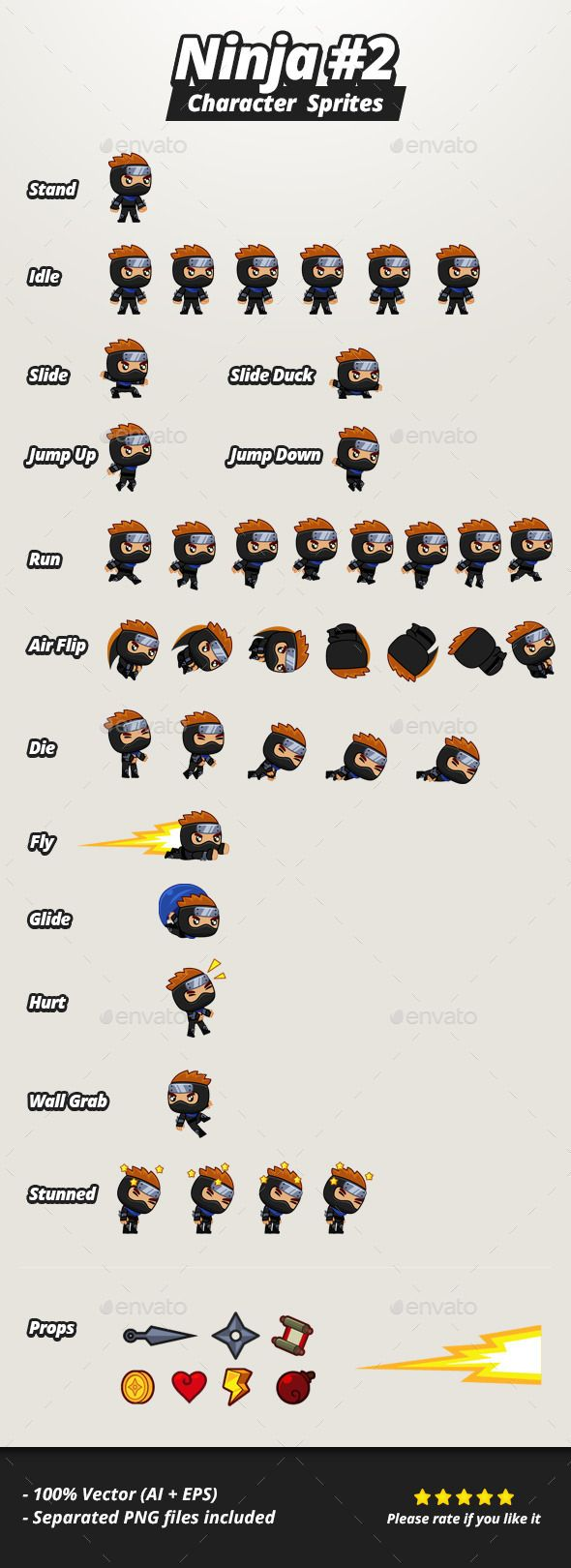 Character Sprites  Ninja #2 — Vector EPS #android #game assets • Available here → https://graphicriver.net/item/character-sprites-ninja-2/11144636?ref=pxcr