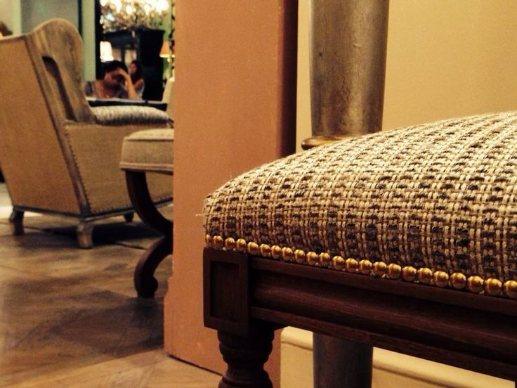 Our fabric collection DIVA perfectly fits the elegant upholstered pieces by MIS EN DEMEURE, on show at #Maison&Objet.