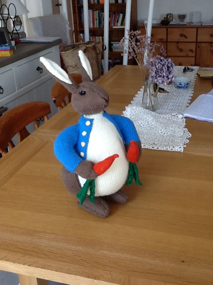 Peter Rabbit.  Knitted this just before Christmas 2014 from an Alan Dart pattern