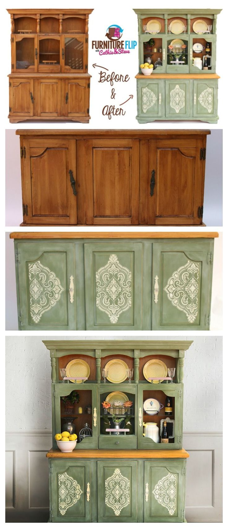 Check out this AMAZING Furniture Flip by Cathie and Steve! Save hundreds by using Chalk Paint and Stencils to revamp old furniture!