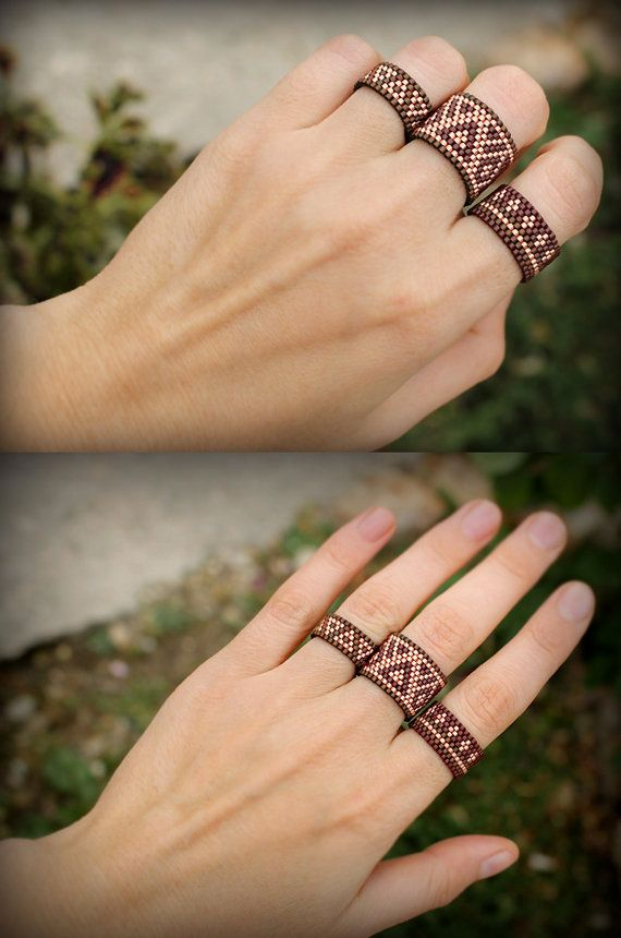 Bohemian rings set Unusual boho rings Three par HappyBeadwork