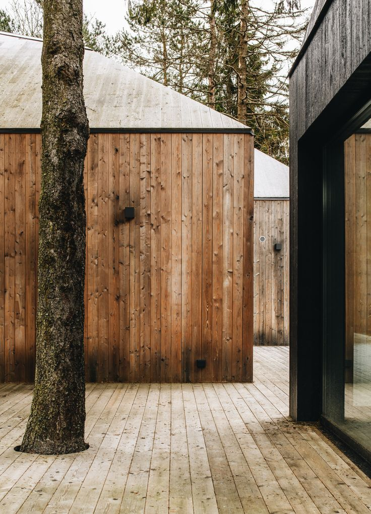 This summer house in the Estonian village of Muraste comprises a cluster of timber volumes topped with faceted roofs and triangular roof lights that allow natural light to pour into the interiors.