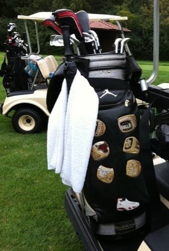Michael Jordan's golf bag with his six world championship rings with the Chicago Bulls.