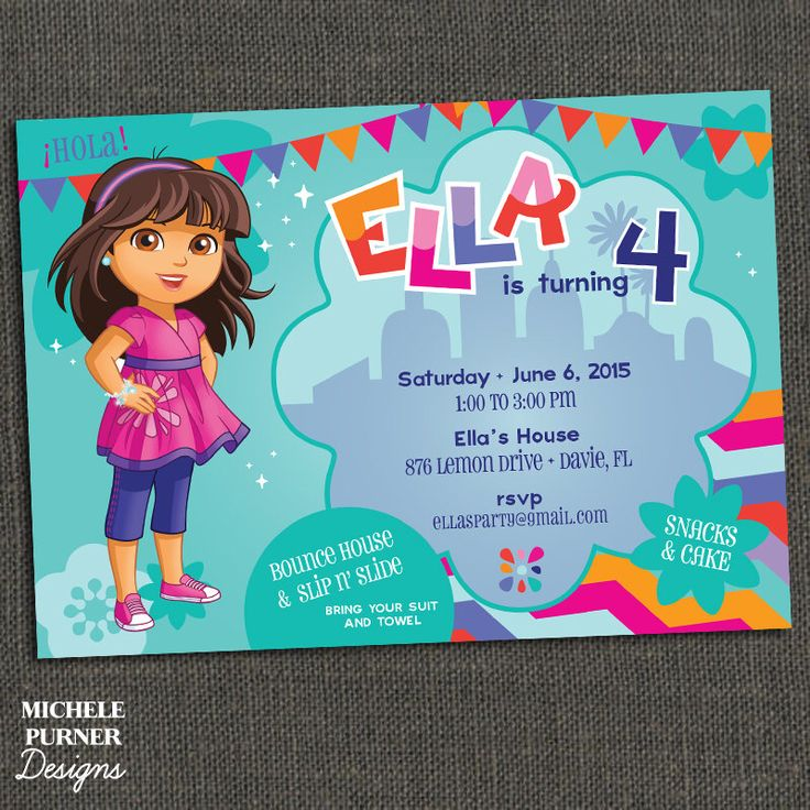 DORA and Friends Birthday Party Invitation