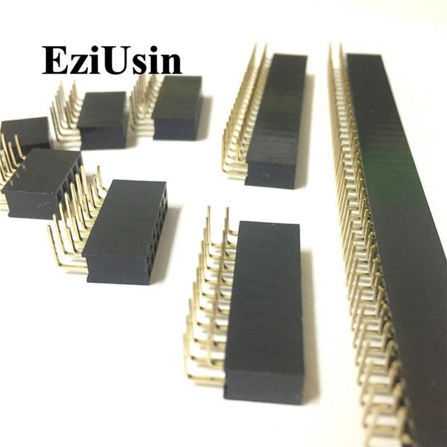 2 54mm R A Double Row Female 2 40p Pcb Board Right Angle Pin Header Socket Connector Pinheader 2 4 6 10 20 40pin For Arduino Revi Pcb Board Connectors Arduino