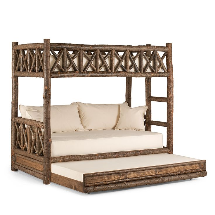 Beautifully Handcrafted Rustic Bunk Bed with Trundle  #4256R shown in Natural Finish (on Bark) by La Lune Collection