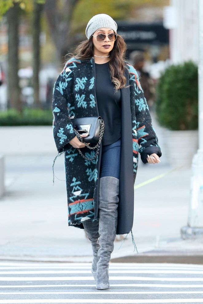 Splurge: Lala Anthony's New York City $2,181 County of Milan Multicolor Round Collar Adela Coat and Gianvito Rossi Fall 2014 Grey Suede Anita Thigh High Boots