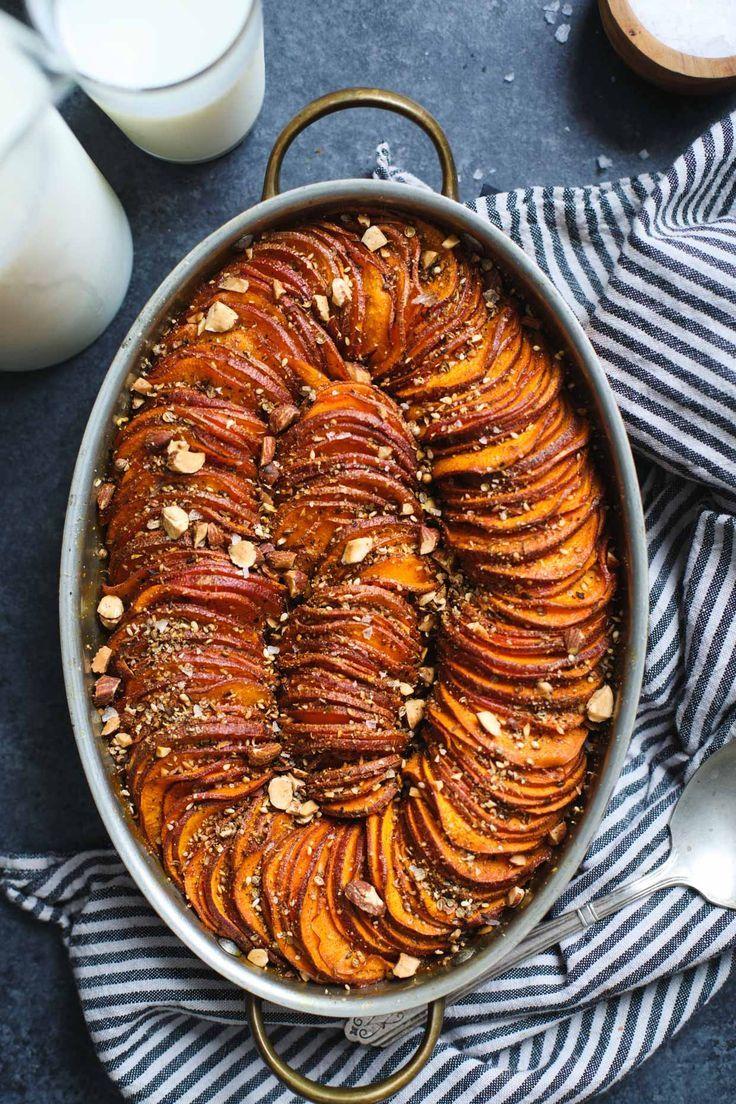 Maple Harissa Sweet Potato Gratin with Almond Dukkah | @gotmilkca #FoodLovesMilk #ad