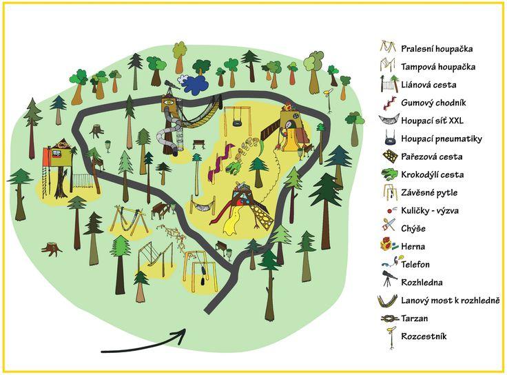 Mapa areálu Lesního zážitkového parku Dolní Morava