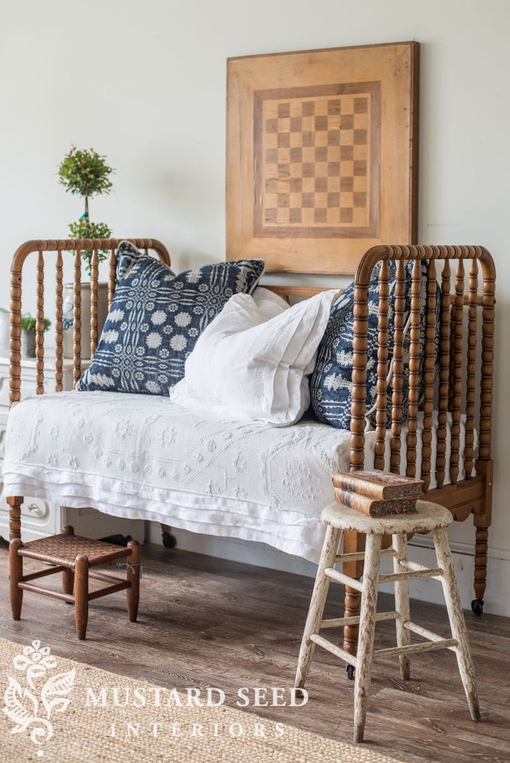 miss mustard seed | antique crib turned into daybed | miss mustard seed has the perfect DIY makeover for antique and vintage cribs!