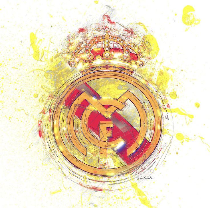 Pintura artística con el logo o escudo del equipo Real Madrid
