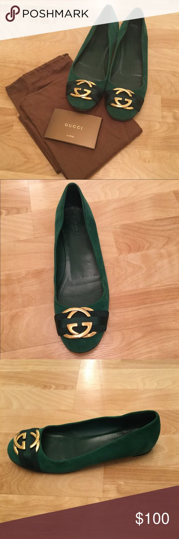 Emerald Green Gucci Flats Attention: GREAT DEAL!!!! Authentic gucci flats in a gorgeous green suede materail and gold logo. Perfect for everday! Great price and comes with two original dustbags!!!! 🌸 Gucci Shoes Flats & Loafers
