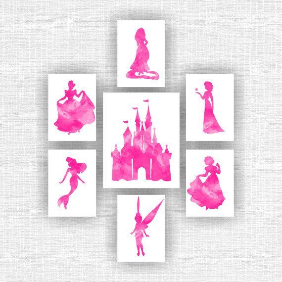 Disney Princess Wall Art, Castle Watercolor silhouette