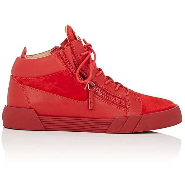 Giuseppe Zanotti Men's Double-Zip Mid-Top Sneakers ($419) ❤ liked on Polyvore featuring men's fashion, men's shoes, men's sneakers, red, mens lace up shoes, mens red sneakers, mens zip shoes, mens sneakers and red mens shoes