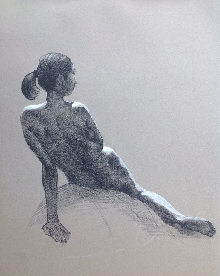 Seated Nude Back, by Cyprian Libera, charcoal and chalk on toned paper, 18 x 24""