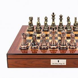Dal Rossi Italy Copper and Bronze weighted chess pieces on Walnut Look/Gloss Finish Chess Box 20″ with compartments – The Dal Rossi Italy luxury chess sets are a statement of extravagance coveted worldwide for their elegance. This Dal Rossi Italy Chess Set is the perfect alternative for the connoisseurs who are after THAT top of […]