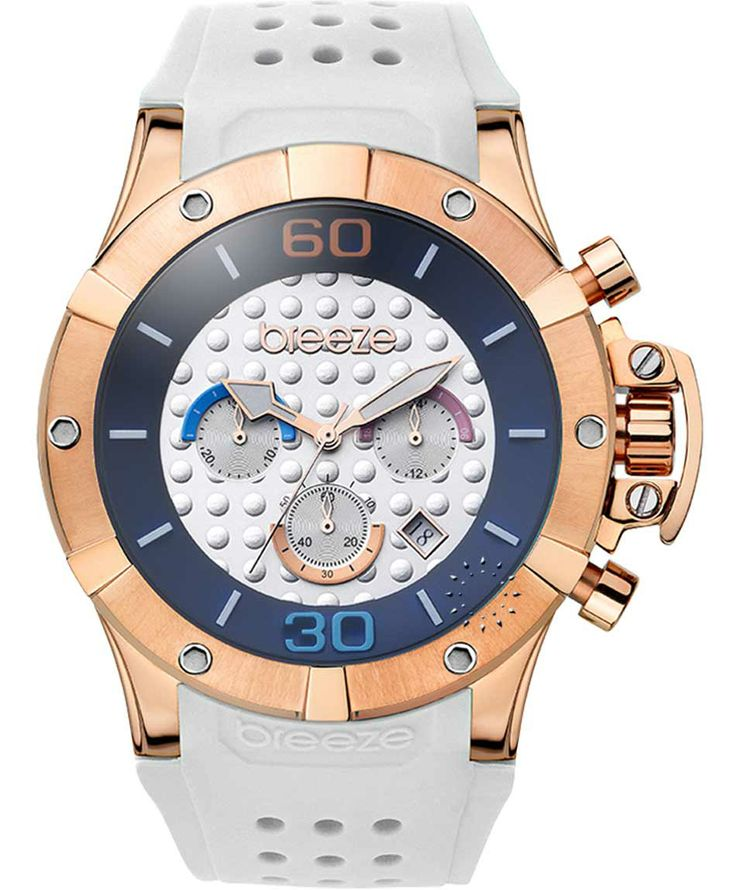 BREEZE Summer Daze Chrono Rose Gold White Rubber Strap Μοντέλο: 110171.4 Τιμή: 165€ http://www.oroloi.gr/product_info.php?products_id=38026
