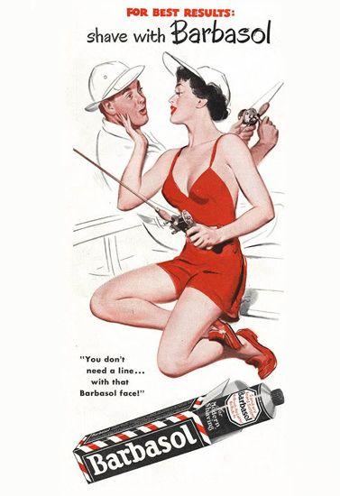 Barbasol Shaving Cream Pin-Up Girl Fisherman 1956