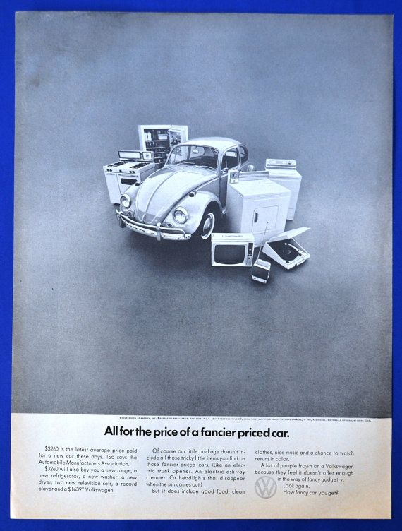 1967 VOLKSWAGEN VW Beetle - All for the price of a fancier car - Print AD!