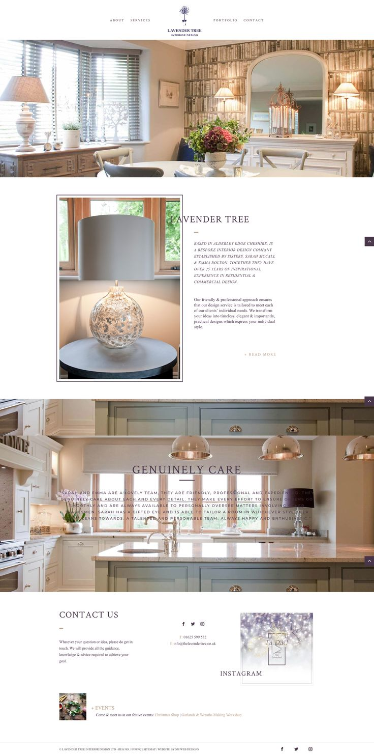 A WordPress website designed and built by sm web designs for an interior design company.