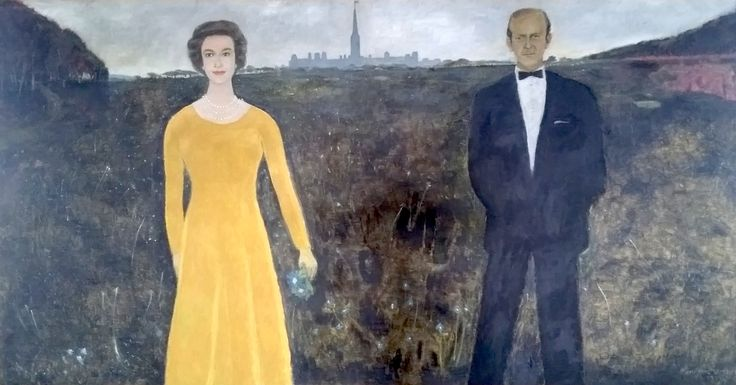 """Lemieux was only the second Canadian artist commissioned to paint an official portrait of a reigning monarch. The painting caused quite a stir when it was unveiled, but Lemieux defended it, describing it as """"a Canadian painting, nothing to do with the formal English representations of the Queen."""" """"Her Majesty Queen Elizabeth II and His Royal Highness The Duke of Edinburgh,"""" 1979, Government House. #ArtCanInstitute"""