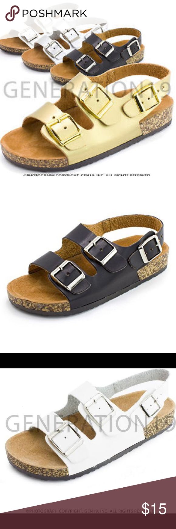 Kids Birkenstock LookAlike Slides AVAILABLE IN GOLD, WHITE, BLACK. I have sizes from 8-3. Comes from nonsmoking pet free home. WILL SHIP SAME OR NEXT DAY (depending on time). Comes with box & original packaging! True to size. Has a back strap for kids so they won't lose their shoes! Very comfortable for them :) please lemme know in the comments below which size & color & I will ship those for you! Please purchase thru this listing :) Kali Shoes Sandals & Flip Flops