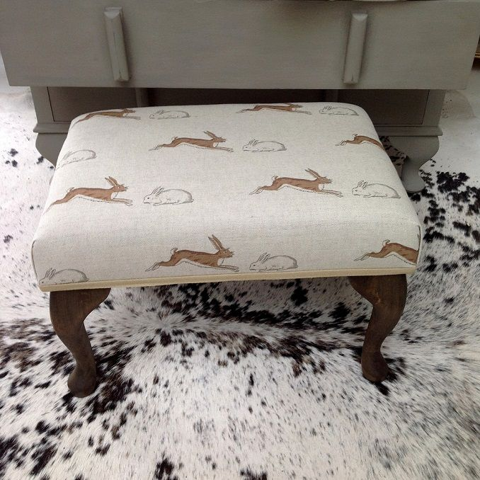 Exclusive to No44 Homeworks a small footstool in Emily Bond's Rabbits