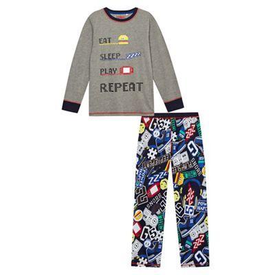 bluezoo boys multi coloured eat sleep play repeat pyjama