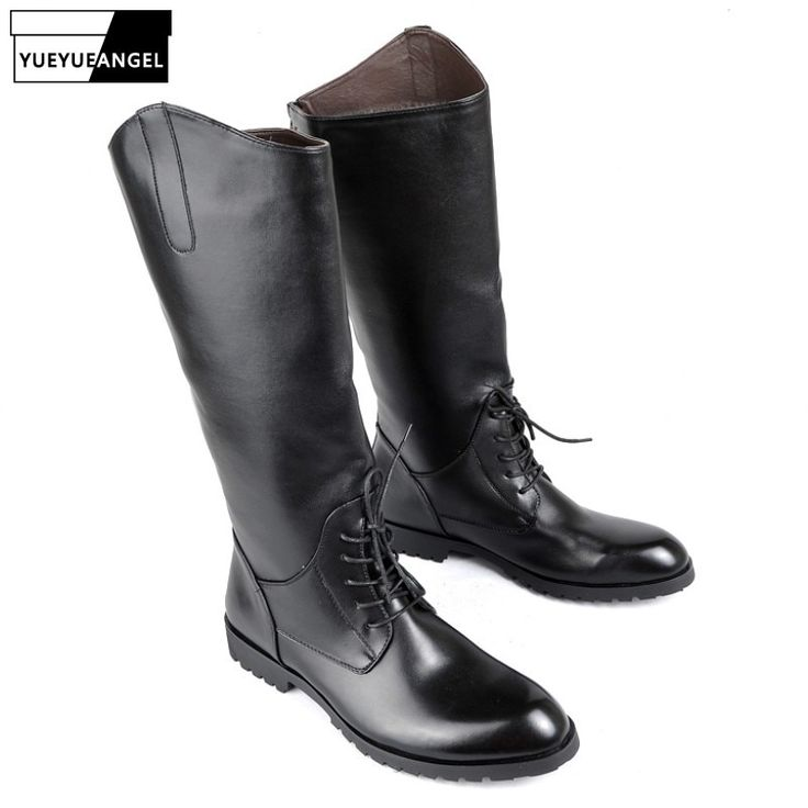 <b>New Fashion Pointed Toe</b> Riding Boots Men PU Leather Lace Up ...